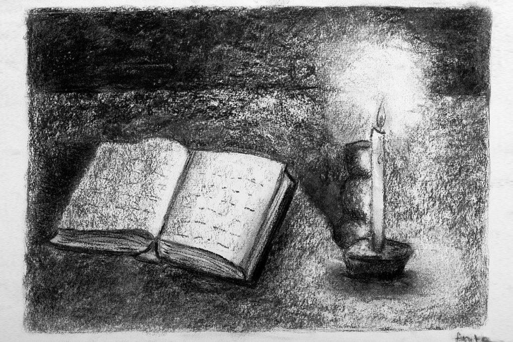 desenho com carvão de aluna do 9º ano - Colégio Micael Ensino Médio